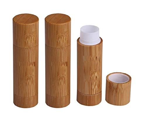 3 UNIDS 5.5ML 0.2OZ Vacío Recargable Bambú Bálsamo Labial Lápiz Labial Desodorante Stick Cap DIY Crayon Hecho en casa Chapstick Contenedor Herramienta de maquillaje Belleza Maquillaje Titular