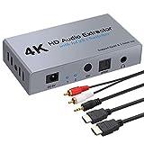Extractor de Audio 4K@30Hz 3D 1080P DAC Adaptador HDMI a HDMI 1.4 HDCP 1.4 con 2 Entradas 1 Salida SPDIF Óptico Toslink Jack 3.5mm Convertidor HDMI a HDMI para PS3/4/BLU-Ray/DVD/PC/HDTV