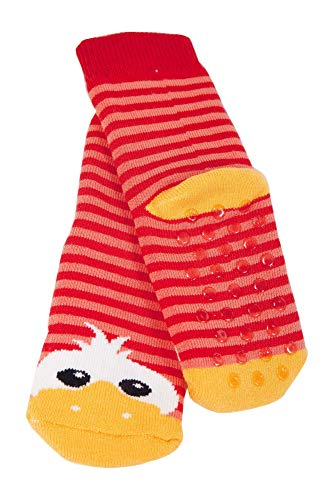Weri Spezials Baby Voll-ABS Socke Enten Motiv in Rot-Rosa Gr.19-22 (12-24 Monate)