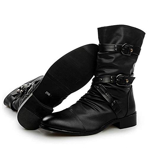 Tebapi Mens Backpacking Boots New England Style Boots Punk Motorcycle Martin Boots Luxury Genuine Leather Military Boots Men Casual Shoes Black 2A Black Plush Warm 10