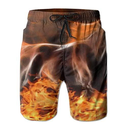 Quecci Shorts de Bain Homme,Maillot de Bain,Men's Swimwear Swim Trunks Fire Horse Fractal Animals Novelty Outdoors Beach Summer Mesh Lining