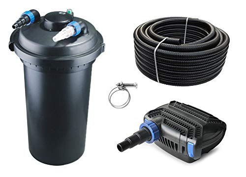 AquaOne Teich Filteranlage Set Nr.15 CPF 500 Druckfilter 80W Eco Teichpumpe Teichgröße bis 30000l Teichschlauch Bachlauf UV Lampe