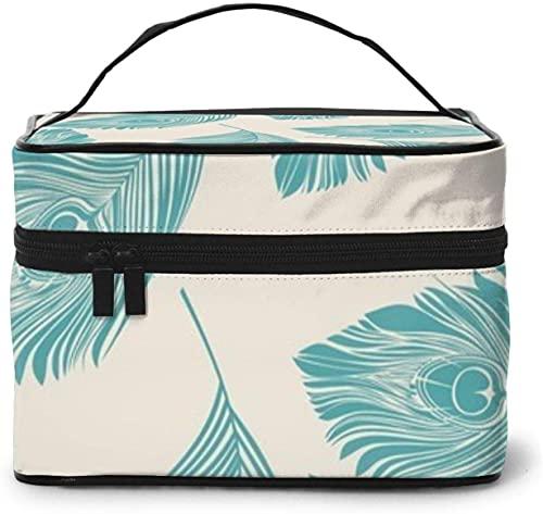 Pluma de pavo real (2) diseño grande bolsa de maquillaje para mujer portátil estuche cosmético organizador viaje con cremallera de malla cepillo bolsillo aseo con asa chica