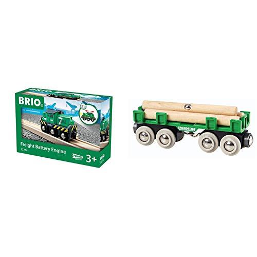 BRIO Bahn 33214 - Batterie-Frachtlok & Bahn 33696 - Langholzwagen
