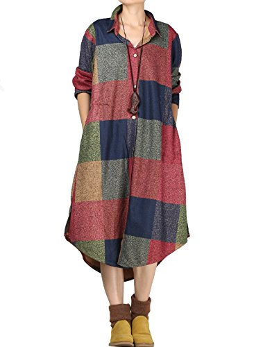 Vogstyle Damen Shirtkleider Langarm Bluse Vintage Bedruckte Strickjacke Plaid Patter L