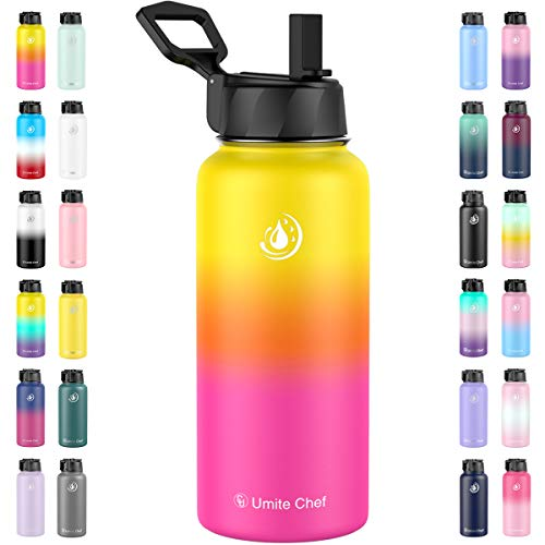 Umite Chef Water Bottle, Vacuum Insulated Wide Mouth Stainless-Steel Sports Water Bottle with New Wide Handle Straw Lid,Hot Cold, Double Walled Thermo Mug(Nectarine)