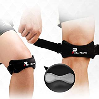 PrettyCare Knee Support Patella Strap (Unique Silicon Material with 2 Pack by Fully Adjustable Tendon Brace Band Pad - Pain Relief for Running, Arthritis, Tennis, Basketball, Tendonitis