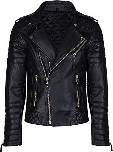 HiFacon Chaqueta vintage para hombre, acolchada, estilo vintage, para motocicleta, de piel auténtica, para motociclista
