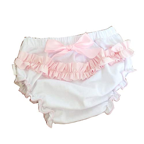 Baby Girls' Soft Cotton Ruffle Diaper Cover Bloomers with Bow Infant Underwear Set 4-Pack Pink