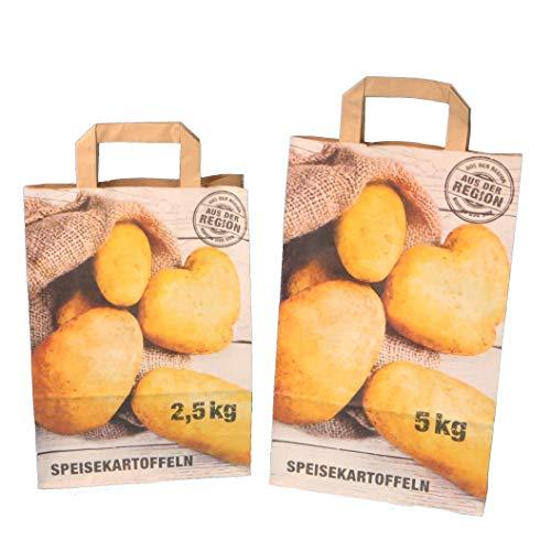 250 Papiertragetaschen Kartoffeltragetaschen Papiertüten für Kartoffeln KRAFT 90g/m² Aufdruck