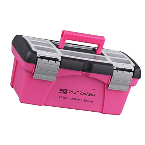 Tenlacum Caja de almacenamiento rosa caja de herramientas para el hogar, caja de almacenamiento multifunción, color rosa, 25,4 cm (25,4 cm)