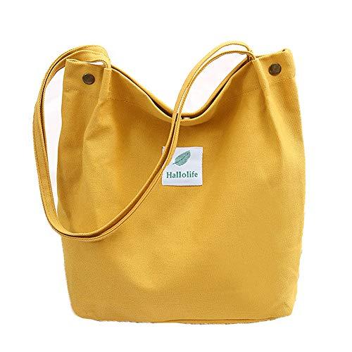 Canvas Tasche Damen Canvas Umhängetasche Shopper Casual Handtasche groß Chic Schulrucksack für Alltag Büro Schulausflug Einkauf, 38 x 32 x 11cm Gelb