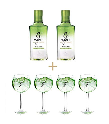 Pack 2 Botellas Gin GVine Floraison 70cl + Regalo 4 Copas exclusivas