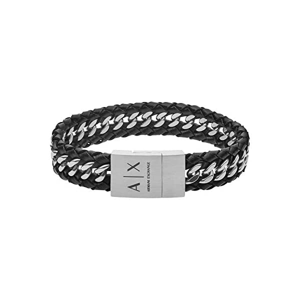 Armani Exchange Braided Leather Chain Bracelet 1