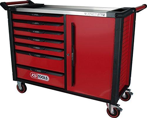 KS Tools 827.1007 RACINGline+ XL SCHWARZ/ROT Werkstattwagen mit 7 Schubladen und 1 Tür