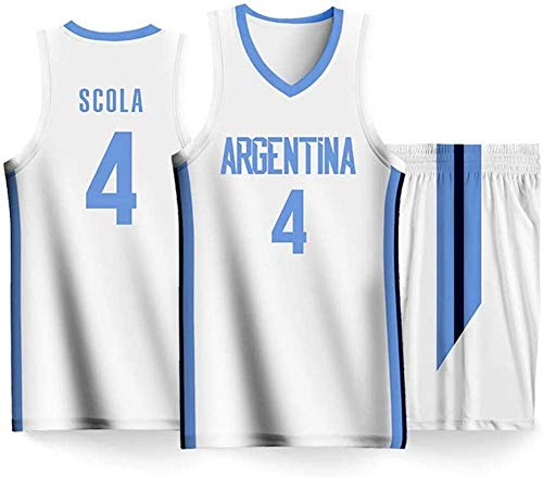 YSMART Camiseta de Baloncesto de los Hombres - 2019 Copa del Mundo Luis Scola # 4 Argentina de Jersey del Equipo de Camiseta sin Mangas