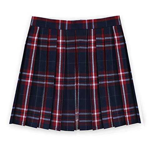 Women School Uniforms plaid Pleated Mini Skirt, Waist(80cm/31.5inch) 2XL, College Red