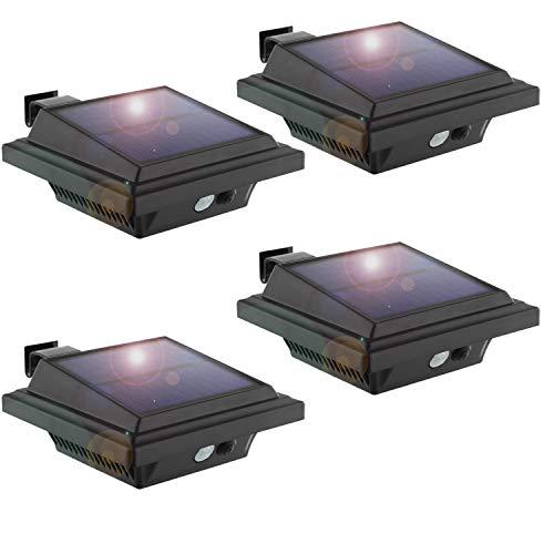 KEENZO LED Dachrinnenlampe, Solar Dachrinnenleuchte Solarlampen für Außen, 25 LEDs, 2W, PIR-Sensor, Schwarz,Kaltweißes Licht, 4er-Set