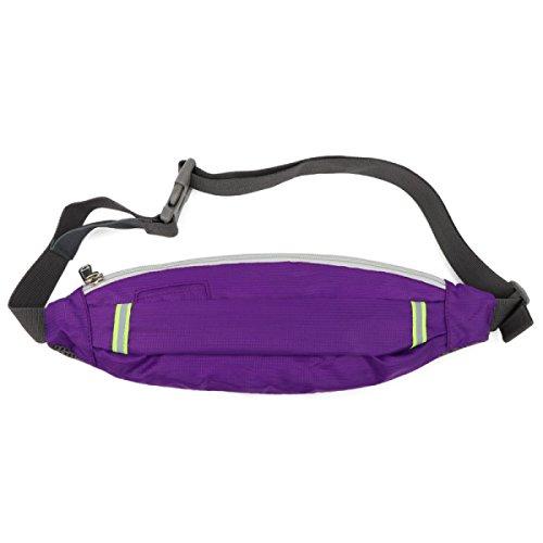 LYFLYF Running Sport Lumière Mâle Imperméable à l'eau Réfléchissant Trou pour écouteurs Multifonction Taille des Paquets Sac,Purple