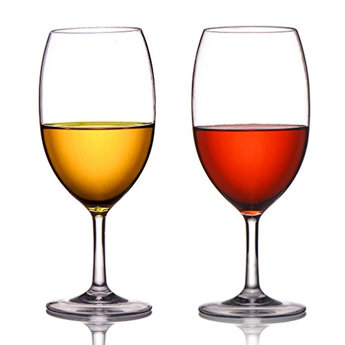 MICHLEY Unbreakable Wine Glasses, 100% Tritan Plastic Shatterproof Wine Glasses, BPA-free, Dishwasher-safe 20 oz, Set of 2