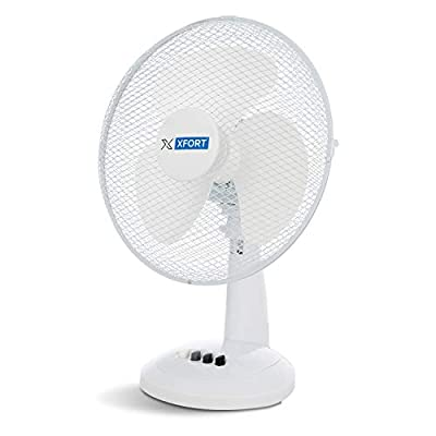 XFORT 12 Inch Oscillating Desk Fan with 3 Speed Settings, Adjustable & Compact Electric Cooling Fan with Quiet Operation, Essential Companion for the Summer [White]
