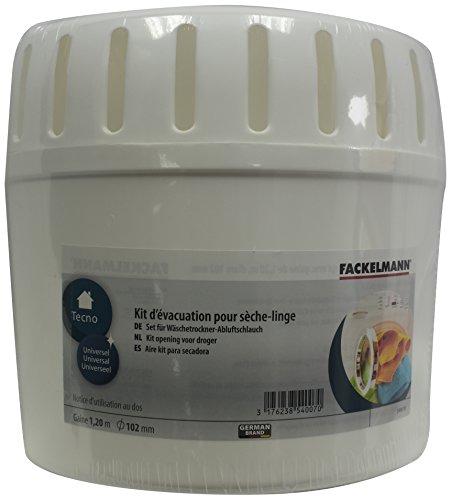 Fackelmann Kit D'Évacuation Sèche Linge, Plastique, Blanc, 22,5 x 15 x 24,5 cm