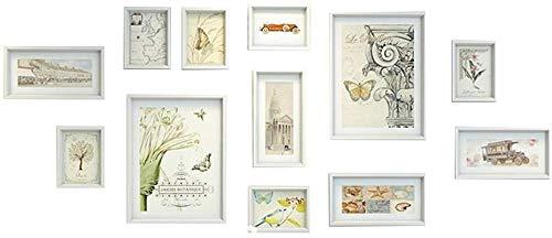 HEWEI Fotolijst van hout, wandkast, collage aan wand met raamdecoratie van glas, voor woonkamer, meerkleurig, 12 stuks (kleur: C)