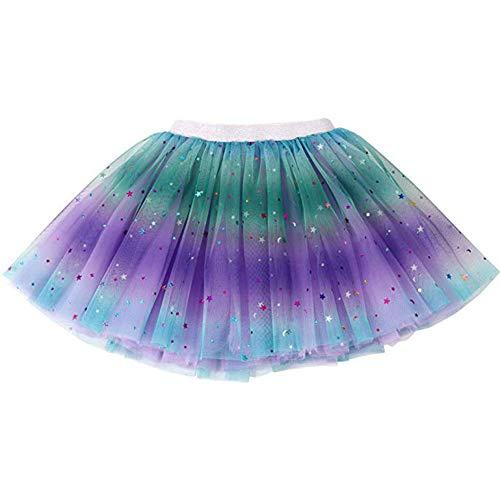 Ruiuzi Tutu-Rock Regenbogen für Kinder, Mädchen, klassisch, 3-lagig, Tüll, Tutu, Rock für Partys, Halloween, Partys, Kostüme (Lila, Baby(0-2Y))