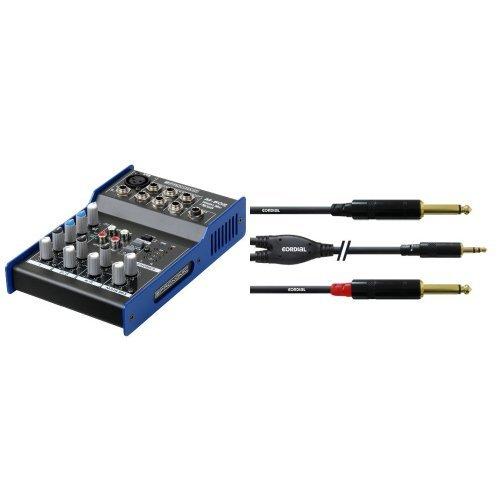 Pronomic M-502 Live/Studio Mischpult (1 Mono-Kanäle XLR/Klinke, 2-Stereo Kanäle, 3-Band-EQ, 48V Phantomspeisung) + Cordial CFY 1,5 WPP Y-Adapterkabel (Klinke 3,5mm stereo gold/2x Klinke 6,3mm mono gold, Länge 1,5m) Bundle