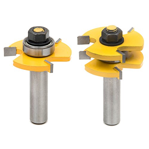 SROL 2Pcs Tongue & Groove Router Bit Set Wood Door Flooring 3 Teeth Adjustable Tenon Cutter with 1/2' Shank