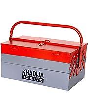 KHADIJA Metal 5 Compartment Tool Box (Red Grey)