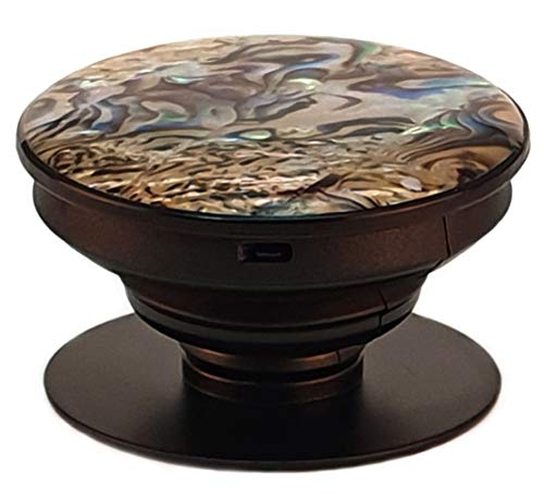 Marble of The Sea, Real Conch Shell, Seashell - Phone Grip and Stand (Brown Shell Black Base)
