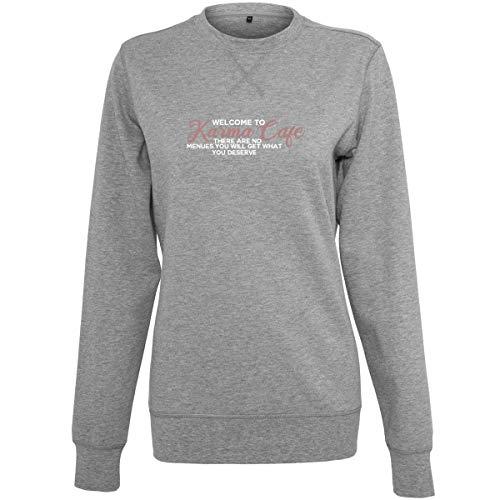 Shirtfun24 Damen Statement Welcome to Karma Cafe Rosegold Print Sweater Sweatshirt, Graumeliert, XS