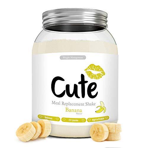 Cute Nutrition Batido Sustitutivo de Comida Sabor Platano para el Control de la Pérdida de Peso en Polvo Bebida Dietética para Mujer Bote de 500 g