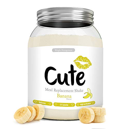 Cute Nutrition Banana Meal Replacement Shakes for Weight Loss Control Diet Shake for Women 500g tub with Bonus 4 Week Fat Buster Workout Plan