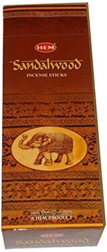 HEM - Incienso de sándalo, 1 Caja de Aproximadamente 120 Varillas por la conexión India