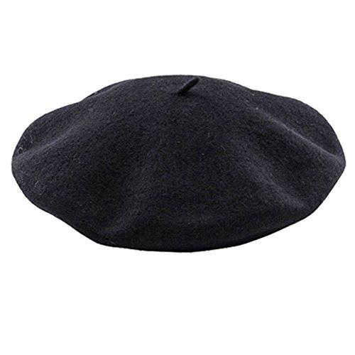 ZhongYeYuanDianZiKeJi Boina de Lana Francesa para Mujer Nia, Fieltro, Gorro de Punto Clsico para Invierno (Negro)