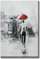 PLLP ノベルティフレームレスウォールペインティング、塗装キャンバス手の油絵、リビングルームの廊下のベッドルームのための雨景観パターン設計の北欧絵画ポスターウォールアート写真モダンな装飾で歩きます,80X120Cm(32X48Inch)いいえフレーム,80X120Cm(32X48Inch)いいえフレーム