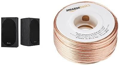 Pioneer SP-BS22-LR Andrew Jones Designed Bookshelf Loudspeakers and AmazonBasics 16-Gauge Speaker Wire - 100 Feet Bundle