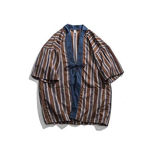 DXHNIIS Camisa de Kimono a Rayas Hombres Verano Puntada Abierta Camisas de Hombre de Gran tamaño Camisas para Hombres de Estilo japonés XL Kimono marrón: Amazon.es: Deportes y aire libre