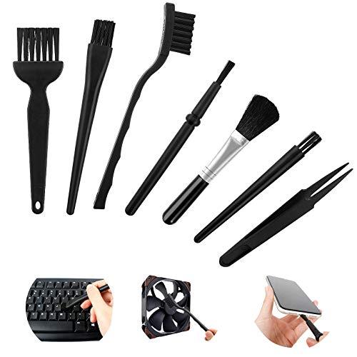 Antistatische ESD Bürste 7 Stück Nylon Computer Reinigungsset Elektronik Tastatur Antistatik Pinsel mit Kunststoffgriff für Tastatur Laptop Leiterplatte Motherboards PC Reinigungsbürste Set