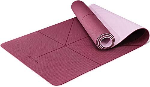 JELS TPE Yogamatte rutschfeste umweltfreundliche Phthalatenfrei SGS geprüft Trainingsmatte Extra Dicke 6MM Gymnastikmatte&Fitnessmatte mit Tragegurt, für Yoga,Pilates,Gymnastik und Bikram-183 * 66CM