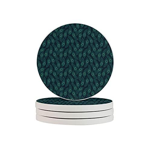 Rysunki Malunki - Juego de 4 posavasos de diatomita, reutilizable, resistente al calor, soporte para tazas, alfombrilla de vajilla para plumas de pavo real
