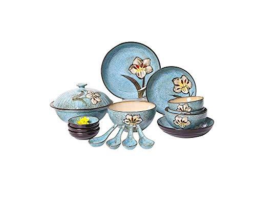 Xiao-bowl3 10 UNIDS Ins Nordic Hogar Cerámica Tazón Plato Vintage Pintado a Mano patrón de Flores vajilla Occidental...