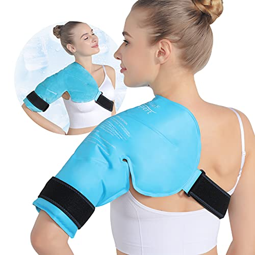 Relief Expert Shoulder Ice Pack Rotator Cuff Cold Therapy for Injuries Reusable Gel Cold Pack Wrap for Left or Right Shoulder and Arm, Instant Pain Relief for Bursitis and Swelling - Soft Plush Lining