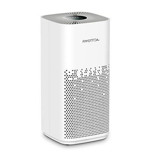 FIWOTTTDA H13 HEPA Air Purifier for Home Large Room, 1540 Sq Ft Coverage Pets Hair Smoke Pollen, 5 Wind Speed Quiet for Bedroom Office, White