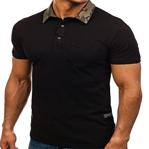 LSSM Camisa Polo De Color SóLido para Hombres De Primavera Y Verano, Camiseta Delgada Casual De Manga Corta con Solapa De Camuflaje Casual para Hombre con Estampado Floral Negro XL