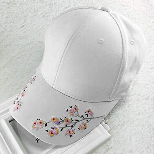 Baseball Kappe Frauen Stickerei Blume Baseballmütze Sommerhüte Eingebaute Isolierung Gestrickte Hüte Weibliche Baseballmütze Verstellbarer Hut 55-60cm Weiß