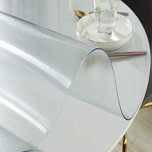 KDDEON Mantel Transparente Mate Redonda para Oficina en Casa,Cubierta de Protector de Mesa de PVC Impermeable/a Prueba de Aceite,para Alfombrillas de Silla,Mesitas de Noche,Baño (75cm/30in)