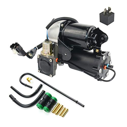 Air Suspension Compressor Pump & Relay & Pipe Kit Hitachi Type # LR023964 LR015303 LR044360 for 2005-2009 Discovery 3 Range Rover Sport